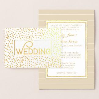 Gold Foil Typography Confetti Wedding Invitations