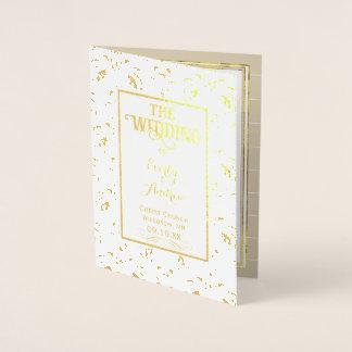 Gold Foil Vintage Damask WEDDING PROGRAM Foil Card