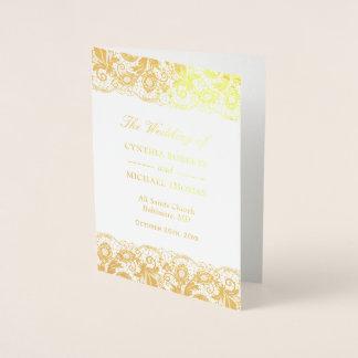 Gold Foil Vintage Lace Damask Wedding Program Foil Card