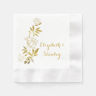 Gold foil vintage peonies floral wedding disposable napkin