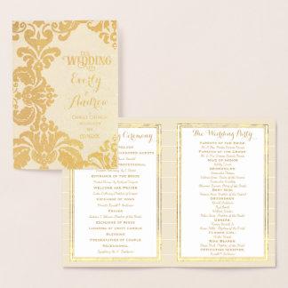 Gold Foil WEDDING PROGRAM Large Damask Foil Card