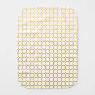 Gold Foil White Polka Dots Pattern Baby Burp Cloth