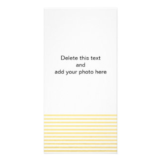 Gold Foil White Stripes Pattern Personalized Photo Card