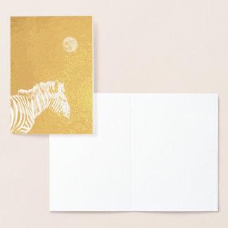 Gold Foil Zebra with Moon Foil Card