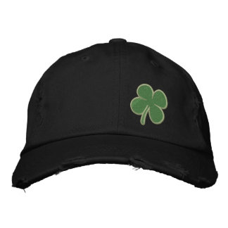 Gold Four Leaf Clover St. Patricks - CUSTOMIZABLE! Embroidered Hat