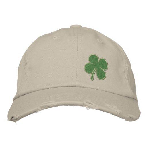 Gold Four Leaf Clover St. Patricks Embroidered Baseball Caps