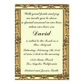 Gold Frame Bar/Bat Mitzvah Invitations