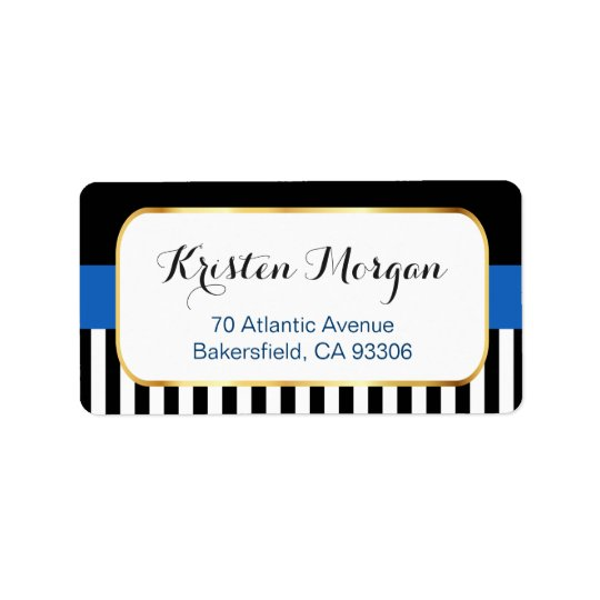 Gold Frame with Navy Blue Black White Stripes Label