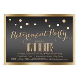 Gold Framed Confetti Dots Dark Retirement Party 13 Cm X 18 Cm Invitation Card