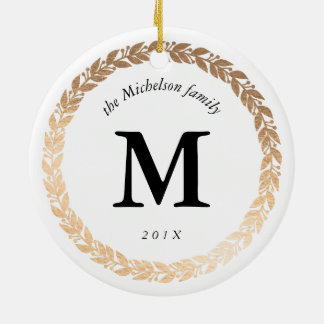 Gold Garland Elegant Photo and Monogrammed White Round Ceramic Decoration