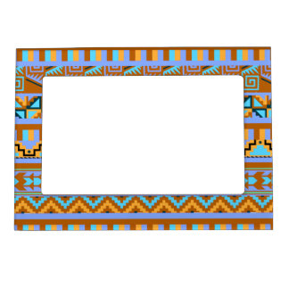 Gold Geometric Abstract Aztec Tribal Print Pattern Magnetic Picture Frame
