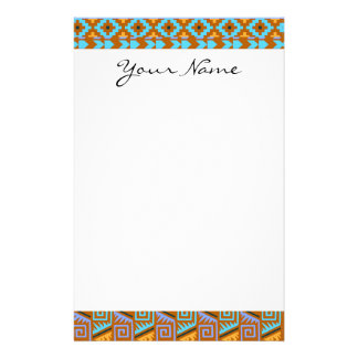 Gold Geometric Abstract Aztec Tribal Print Pattern Stationery