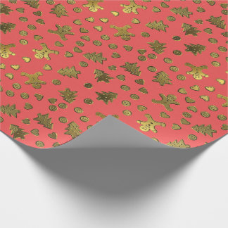 Gold Ginger Bread On Pink Christmas Wrapping Paper