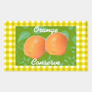 Gold gingham Orange marmalade labels Rectangular Sticker