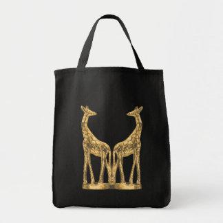 Gold Giraffe Grocery Tote
