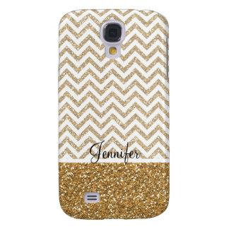 Gold Glam Faux Glitter Chevron Galaxy S4 Case