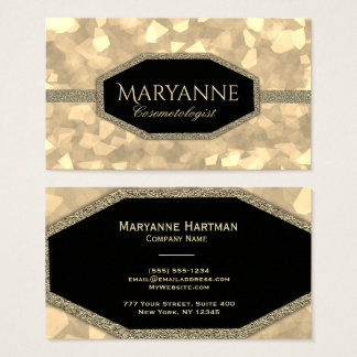 Gold Glam Glitter Cosmetologist Business Card