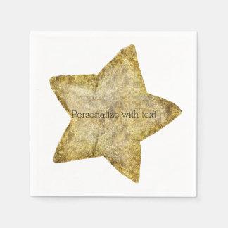 Gold Glam Star Disposable Serviettes