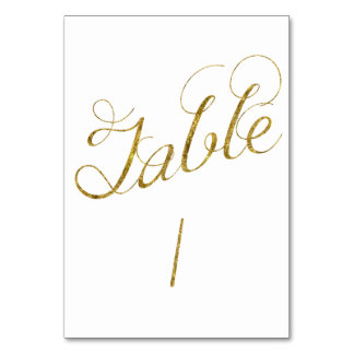 Gold Glam table 1 number Card