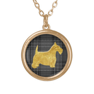 Gold Glass Look Scottie Charcoal Plaid Gold Plated Necklace