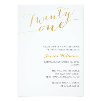Gold Glitter 21st Birthday Party Card