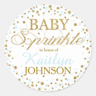 Gold Glitter and Blue Sprinkle Baby Shower Label Round Sticker
