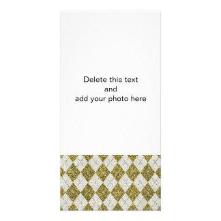 Gold Glitter Beige Linen Argyle Pattern Photo Card