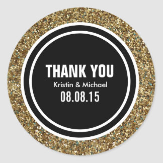 Gold Glitter & Black Custom Thank You Label Round Sticker