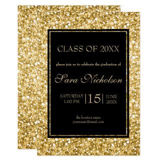 Gold Glitter Black Frame-Graduation Card