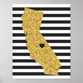 Gold Glitter California Black and White Stripes Poster