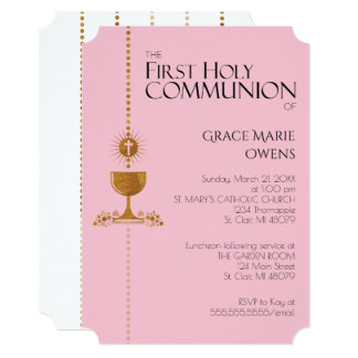 Gold Glitter Chalis First Communion Invitation
