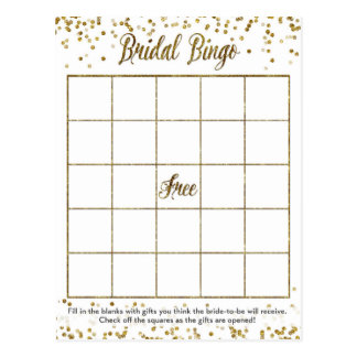 Gold Glitter Confetti Bingo Bridal Shower Game Postcard