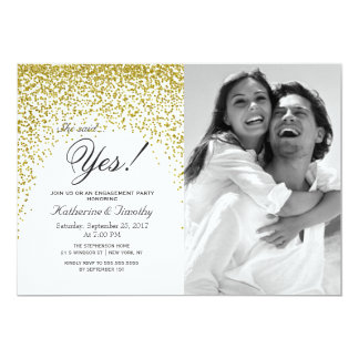 Gold Glitter Confetti Engagement Announcements