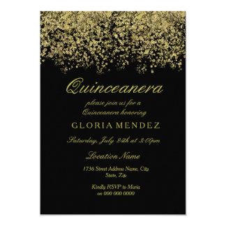 Gold Glitter Confetti Quinceanera Invitation
