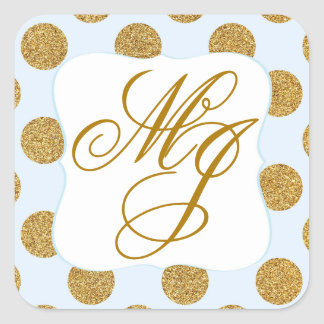 Gold Glitter Dots Baby Blue Monogram Labe Square Sticker