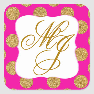Gold Glitter Dots Hot Pink Monogram Label Square Sticker