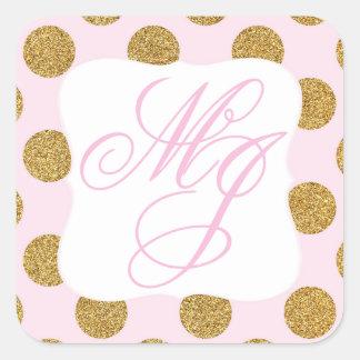 Gold Glitter Dots Pink Monogram Labe Square Sticker