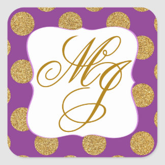 Gold Glitter Dots Purple Monogram Label Square Sticker