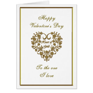 Gold Glitter Flourish Valentine Greeting Card