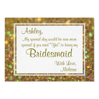 Gold Glitter Glam Will You Be My Bridesmaid