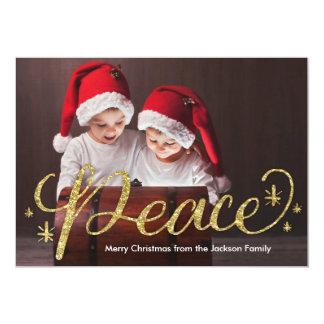 Gold Glitter Hand Lettered Peace Christmas 13 Cm X 18 Cm Invitation Card