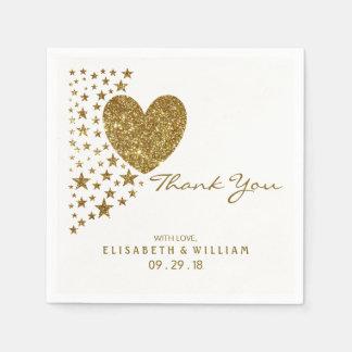 Gold Glitter Heart and Stars Wedding Disposable Serviettes