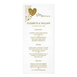 Gold Glitter Heart and Stars Wedding Menu