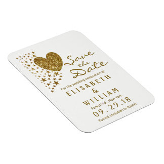 Gold Glitter Heart and Stars Wedding Save The Date Rectangular Photo Magnet
