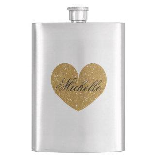 Gold glitter heart monogram hip flask for women