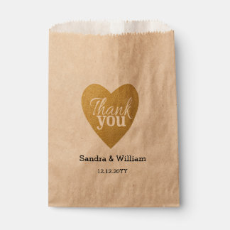 Gold Glitter Heart Wedding Thank You Favour Bags