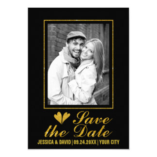 Gold glitter hearts wedding save the Date photo Card