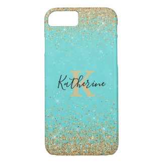 Gold Glitter Look Turquoise iPhone 7/8 Case