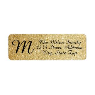 Gold Glitter Monogram Address Labels