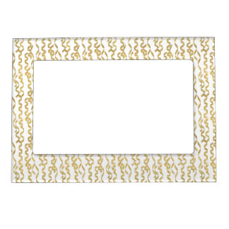 Gold Glitter Party Streamers on White Background Frame Magnets